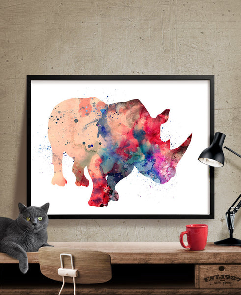 Rhinos Print, Watercolor Wall Art, Watercolor Painting, Illustration Rhinos Poster Wall Decor, Rhinoceros Watercolor (162)
