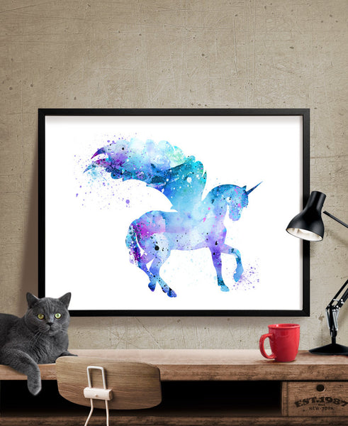 Unicorn Watercolor Print, Unicorn Art Print, Watercolor Art, Animal Watercolor, Unicorn Home Decor Wall Art, Unicorn Painting Print (171)
