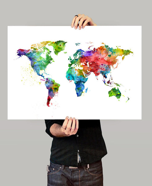 World Map Print, Map Watercolor Art, Large Map, Travel Map Poster, on map of the entire world, big map print world in, map of the whole world, detail map of whole world, map of pre-k posters of the world, printable map of whole world, binder paper size printable map of the world, big print united states map,