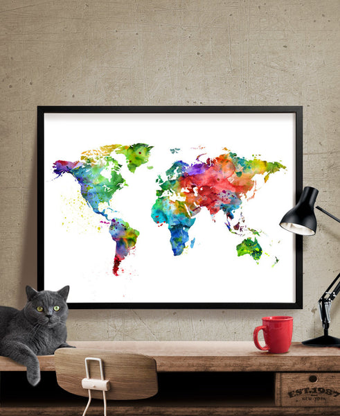 World Map Print, Map Watercolor Art, Large Map, Travel Map Poster, Watercolor World Map, World Map Art, Wall Art Print, Home Decor(174)