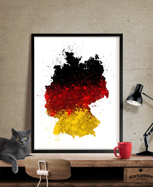 Germany Map Art, Watercolor Map, Germany Art, Germany Map, Watercolor Print, Wall Art, Deutschland Flag (178)