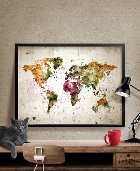 World map, large world map, watercolor world map, watercolor world map, World map poster, guest book map, wall art, Home Decor (180)
