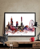 Chicago Abstract, Chicago Skyline, Chicago Art Poster, Chicago print, Chicago Cityscape, Chicago Wall Art, Decor Gift (190)