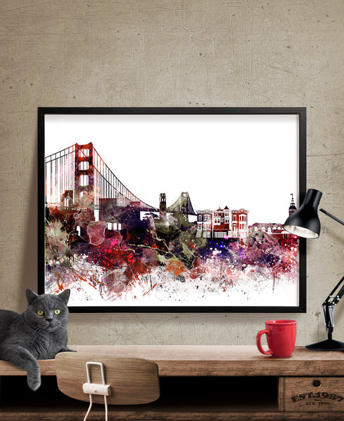 San Francisco Skyline, Watercolor San Francisco, Art Print, Cityscape,  Artwork, San ...