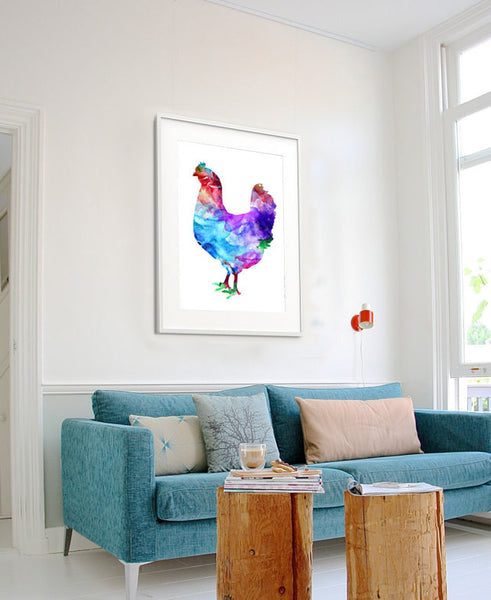 Chicken Art Print, Watercolor Art, Chicken Print, Chicken Watercolor Wall Decor (200)