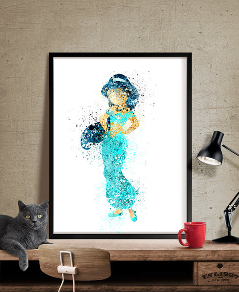 Disney Princess Jasmine, Watercolor Art, Nursery Art Print, Disney Watercolor, Wall Art Print, Jasmine Art, Painting, Nursery Art (205)