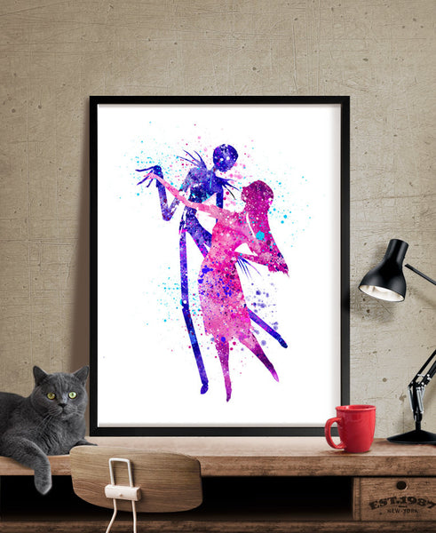 The Nightmare Before Christmas, Watercolor Art, Watercolor Painting, Jack and Sally Watercolor, Baby,  Decorations, Wall Art Poster (208)