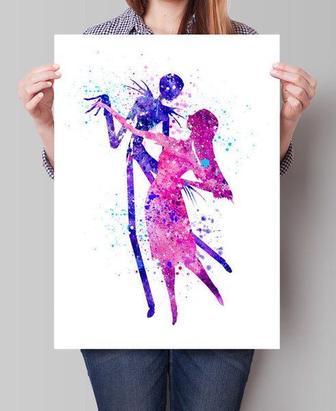 the nightmare before christmas watercolor art watercolor painting jack and sally watercolor