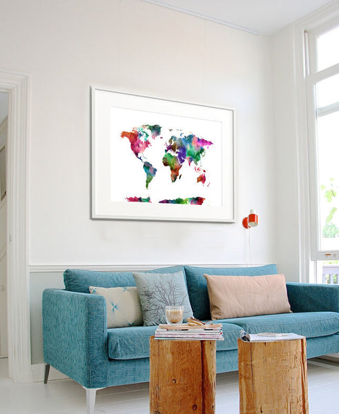 World map watercolor art print, travel map, large world map, world map watercolor, map painting, guest book, Wall art (209)