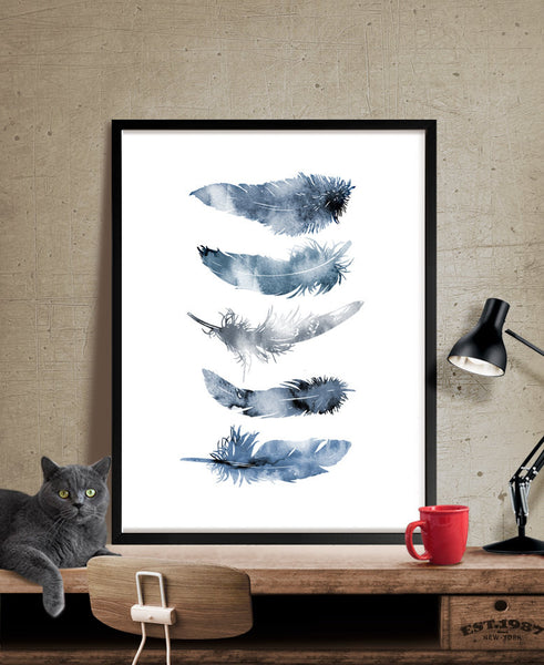 Watercolor Feather Art Print, Wall Art Poster, Watercolor Print, Watercolor Art, Wall Art Prints, Wall Hanging, Feather Decor Poster (215)