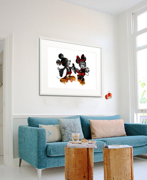 Disney Wall Art, Mickey U0026 Minnie Poster, Abstract Art, Abstract Painting,  Wall ...