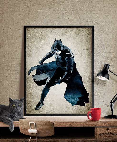 ... Batman Art Print, Batman Poster, Batman Wall Art, Superheroes Poster,  Super Hero ...