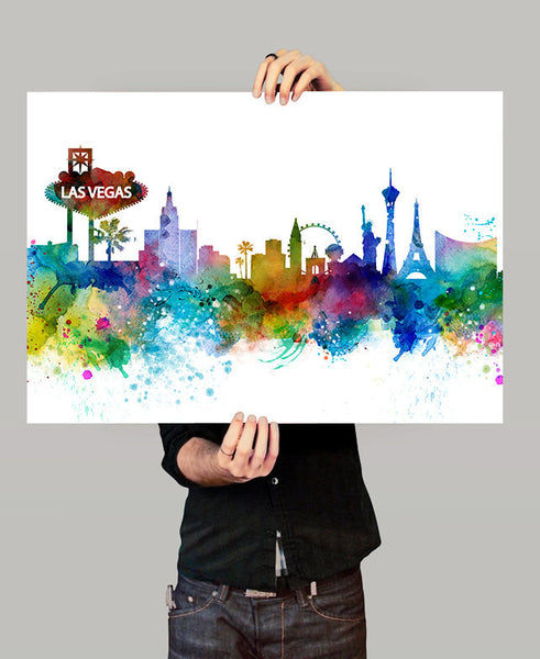 Las Vegas Skyline, Las Vegas Wall Art, Las Vegas Poster, Cityscape Art Print, City Wall Art, Cities Skylines, Watercolor, Nevada Art (261)