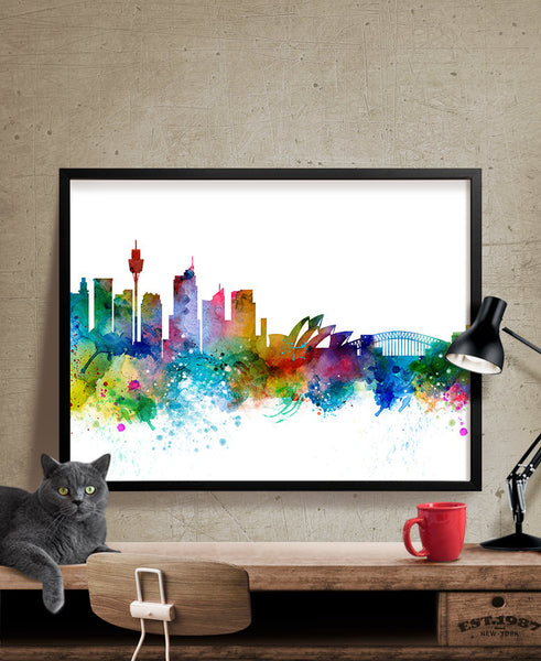 Sydney Skyline, Sydney Wall Art, Sydney Poster, Cityscape Art Print, City Wall Art, Cities Skylines, Watercolor, Australia Art Print (263)