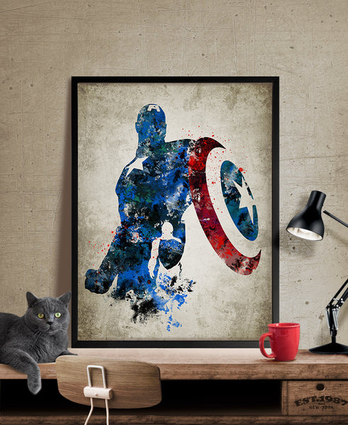 Captain America Art Print, Captain America Poster, Captain America Wall Art, Superheroes Poster, Super Hero, Marvel art, For gift (268)