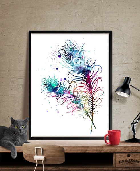 Peacock Feathers Watercolor Art, Feather Print, Watercolor Painting, Watercolor Art Poster, Feather Poster, Decor Wall Art (104)