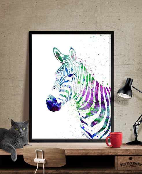 Zebra Watercolor Print, Art Print, Animal Watercolor Painting, Animal Print Wall Art Decor (50-)