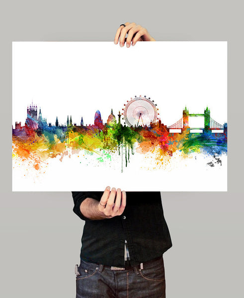 London skyline, London watercolor, London poster, London watercolor print, Art, Wall art, London poster, Home Decor, London Cityscape (05)