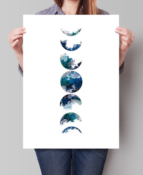 Moon Art Print, Watercolor Painting, Watercolor Art, Wall Art, Home Decor, Fine Art Print, Astronomy Print, Gifts, Art Poster, Art Deco(281)