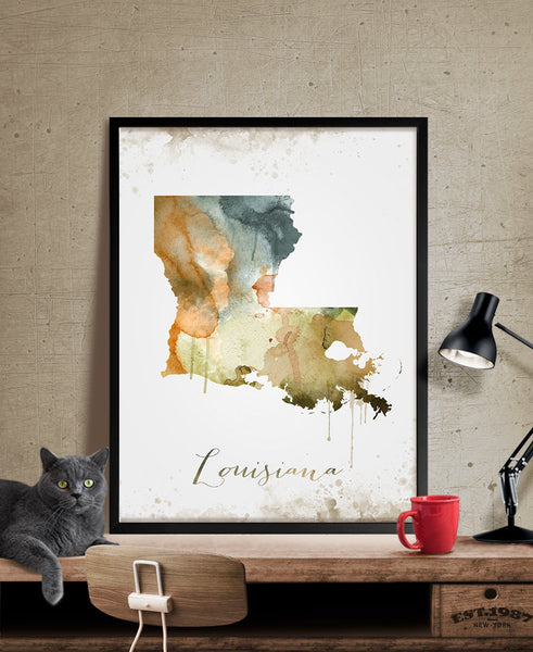 Louisiana Map Print Wall Art Print, Louisiana Art, Louisiana State Print Map Poster, Louisiana Decor, Louisiana Print (288)