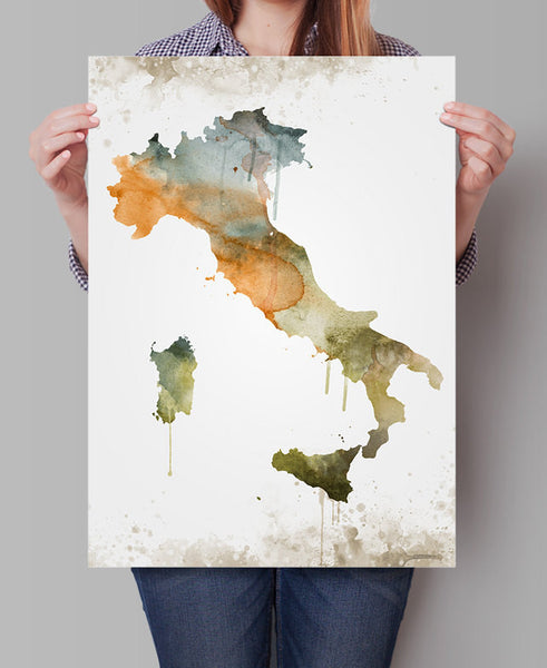 Italy print, Italy art, Italy poster, Italy wall art, Map of italy, Painted map art, watercolor, Wall Art, Decoration, italy map (294)