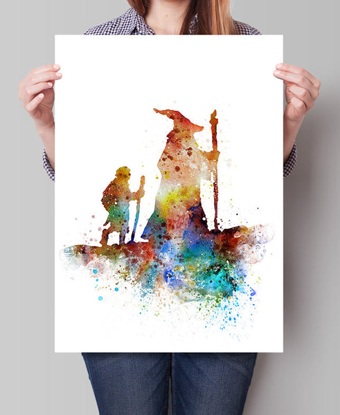 Gandalf Watercolor Print, Lord of the Rings Art, Watercolor Art, the Hobbit Poster, Frodo Bilbo Print Watercolor Painting, Art Print (300)