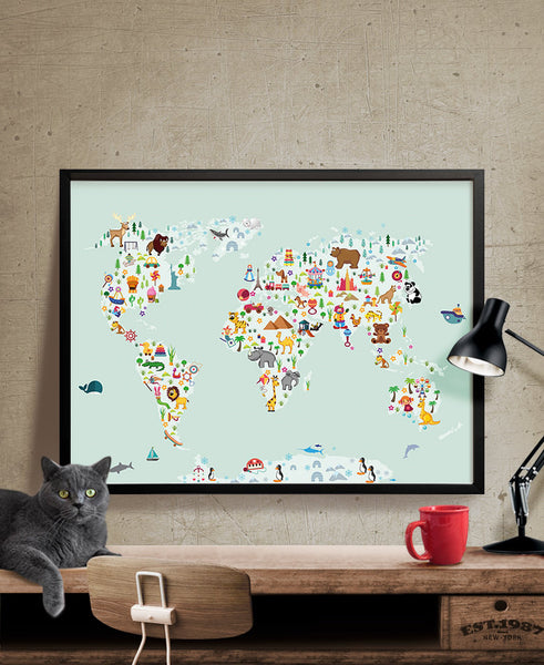 World map wall art kids room nursery decor animal world poster map world map wall art kids room nursery decor animal world poster map nursery gumiabroncs Gallery