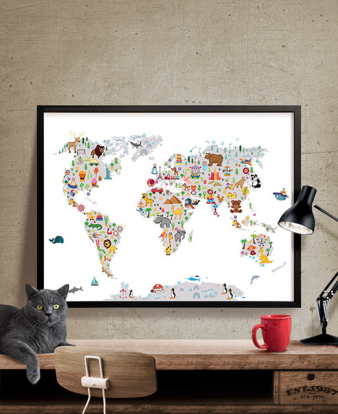 Kids World Map, Wall Art, Map Poster, Animal Map of the World, Map for  children, for kids, Art Print, Kids Room Decor, Baby Room Poster(305)