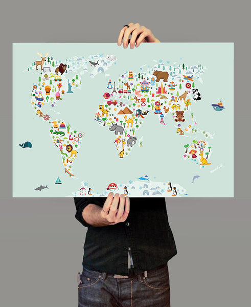 World Map Wall Art, Kids room Nursery decor, Animal World poster Map,  Nursery wall art, Kids room decor, World Map Poster, Wall Art (306)