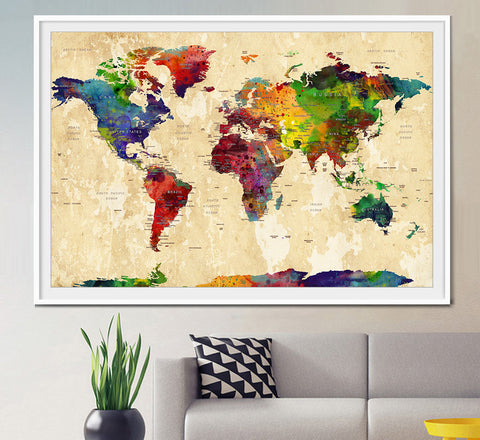 WORLD MAP, Large World Map, Watercolor World Map, World Map Art, Wall Art, World Map Poster, Home decor, map of the world, Art, Travel (L25)