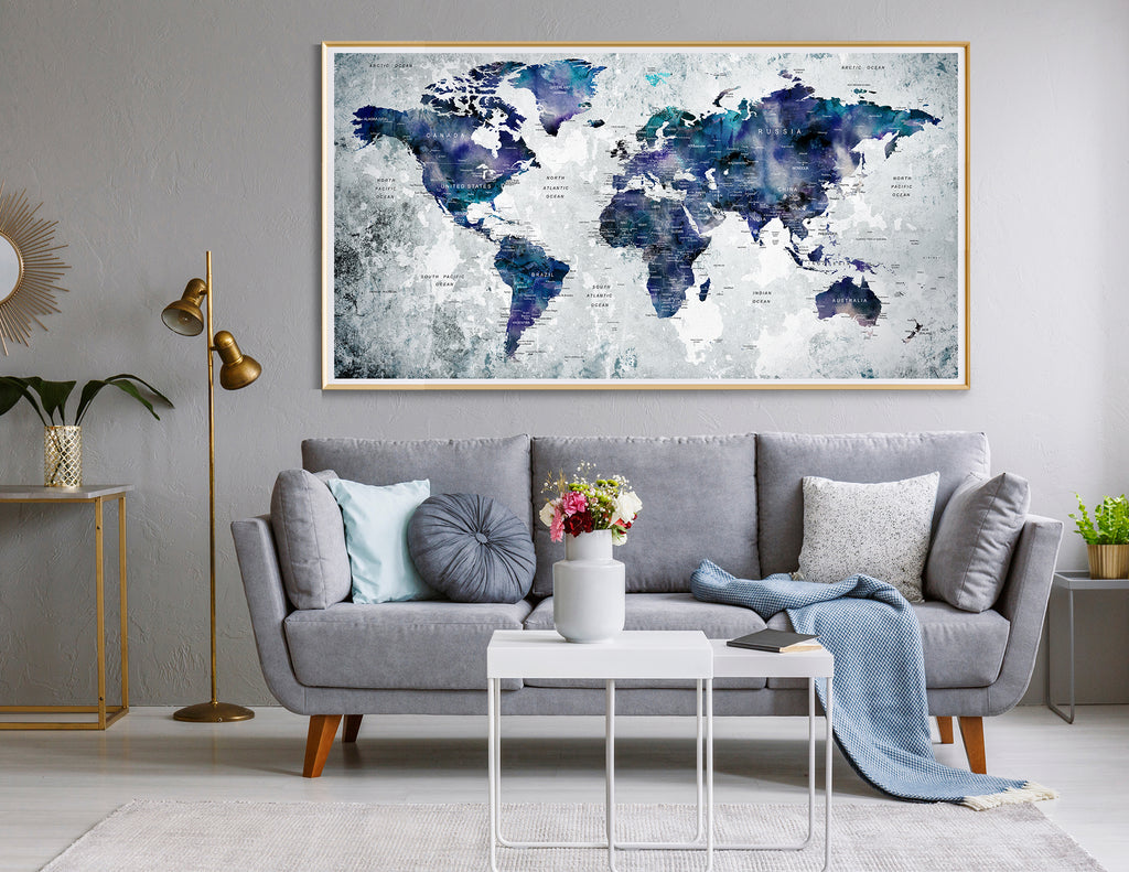 Picture of: World Map Wall Art World Map Poster Watercolor World Map Print Fine Art Center