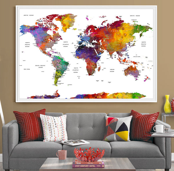 Push pin travel world map extra large wall art - World map push pin - World Travels Map, Office Decor, Home Decor, Travel Map, Map Art (L45)