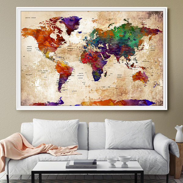 Watercolor Large Map World Push Pin Travel Wall Texture Extra lArge World Map Travel Map Push Wall Art Colorful Decor For gift (L57)