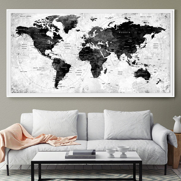 LARGE Watercolor Map World Push Pin Travel Cities Wall Black White