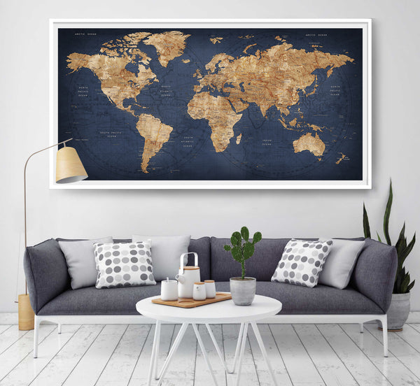 World map push pin, Large world map, Abstract World Map, Travel Gift ...
