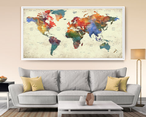World map push pin, World map with countries art print, Push pin travel world map wall art print, push pin map extra large wall art (L87)
