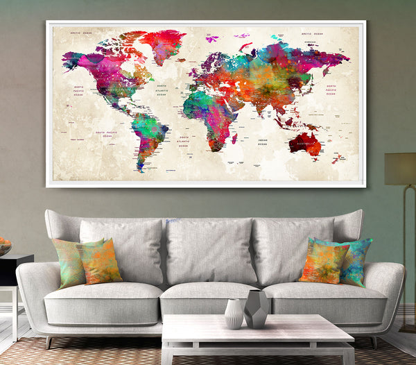 Personalized Wedding gifts for couple Large Push Pin World Map