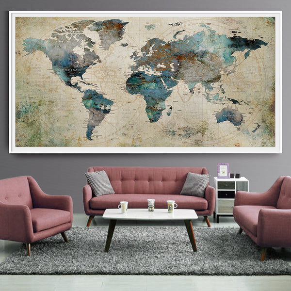 Extra Large Wall Art Push Pin World Map Art Print, Large wall
