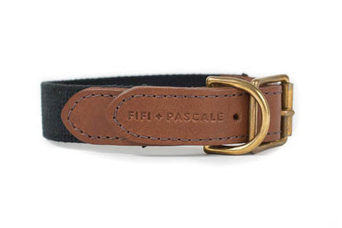 Leather + Black Webbing Collar | bob+BEAR