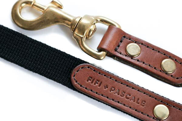 Leather + Black Webbing Lead | bob+BEAR