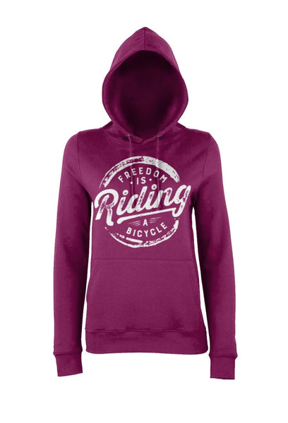 Womens Plum Freedom Is Riding a Bicycle Hoody
