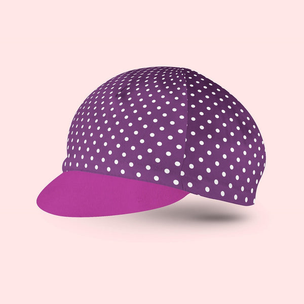 Plum Polka Dot Cycling Cap