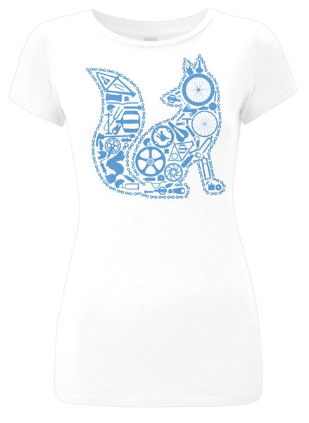 Chain Fox Slim Fit T-Shirt (White-Blue)