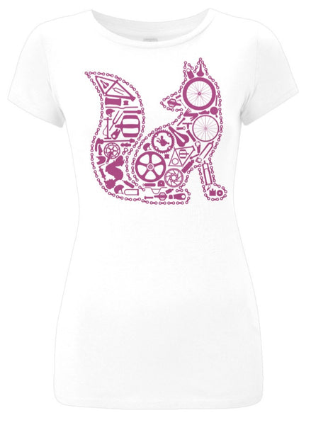 Chain Fox Slim Fit T-Shirt (White-Plum)