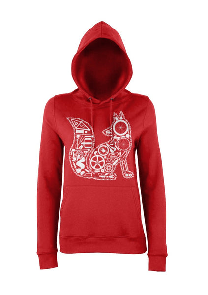 Red Chain Fox hoody for women who love cycling