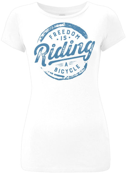 Womens Freedom is Riding a Bicycle Tshirt White Blue