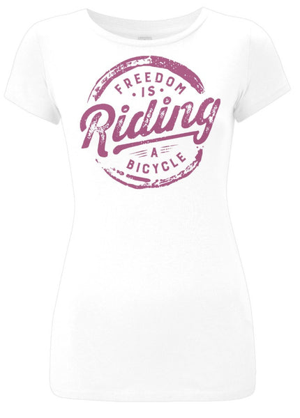 Womens White Freedom is Riding a Bicycle Tshirt