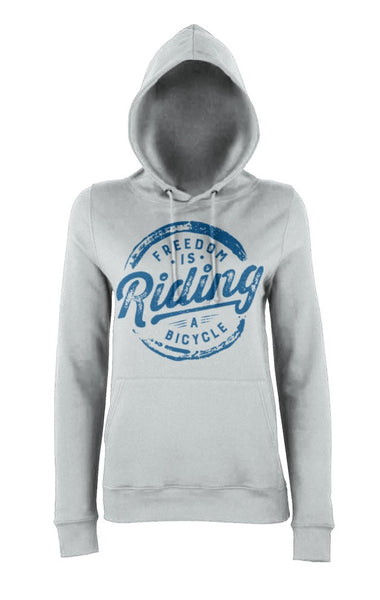 Grey Womens Freedom is Riding a Bicycle Hoody
