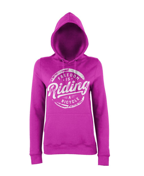 Pink Womens Freedom is Riding a Bicycle Hoody