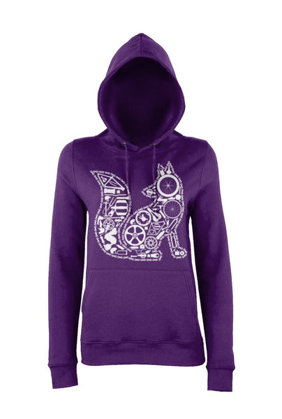 Purple Chain Fox hoody for women who love cycling